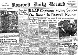 1ª Página do Roswell Daily Record em 08/07/1947